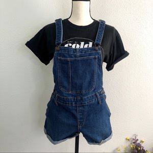 Old Navy (S) Denim Overall Shorts Cuffed Pockets